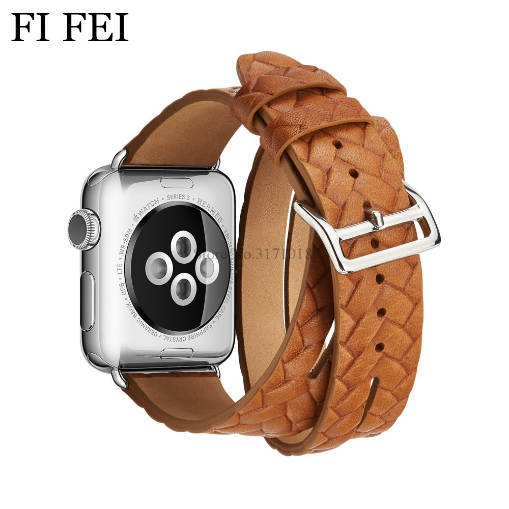 FI FEI NEW Double Tour Buckle Cuff Woven Leather Band For Apple Watch 38mm 42mm Strap WatchBand Bracelet Series 3 2 1 38 42 MM fohuas extra long genuine leather band double tour bracelet leather strap watchband for apple watch series 2 38mm amd 42mm woman