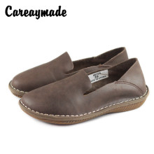 Careaymade-Womens round head comfortable flat bottomed wear resistant cattle tendon shoes, handmade genuine leather shoes