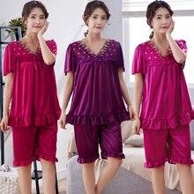 Женская Летняя шелковая ночная рубашка размера плюс женская пижама большого размера с коротким рукавом и домашняя пижама