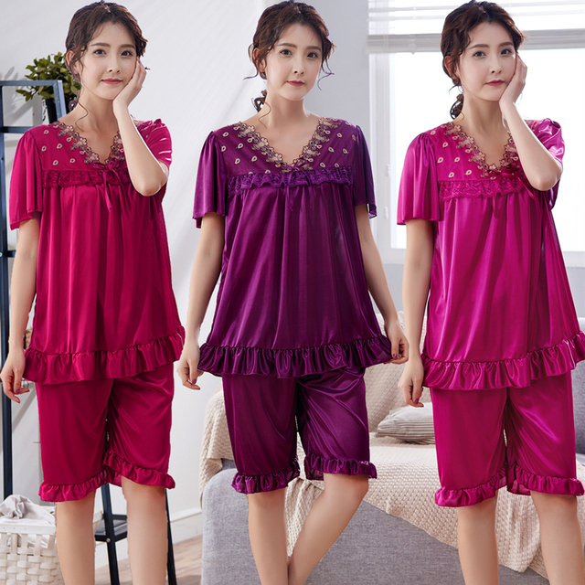 Free Shipping 2018 Women Summer Plus Size Ice Silk Nightgown Female Large  Size Short Sleeve sleepwear Set and Homewear Pajamas a239d2817b7b