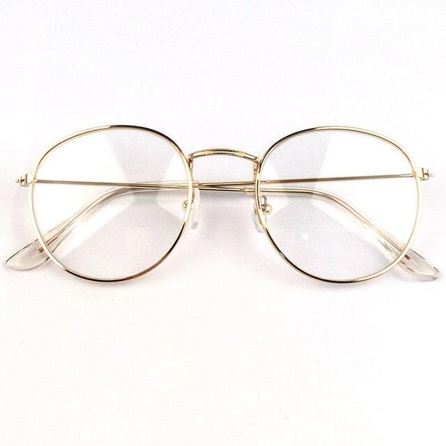 2018 New Designer Woman Glasses Optical Frames Metal Round Glasses Frame Clear lens Eyeware Black Silver Gold Eye Glass 1