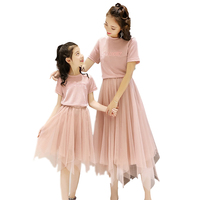 2019 Mother Daughter Dress Family Matching Clothes Summer New Baby Girl Princess T Shirt+skirt Set Mesh Skirt Set Family Look