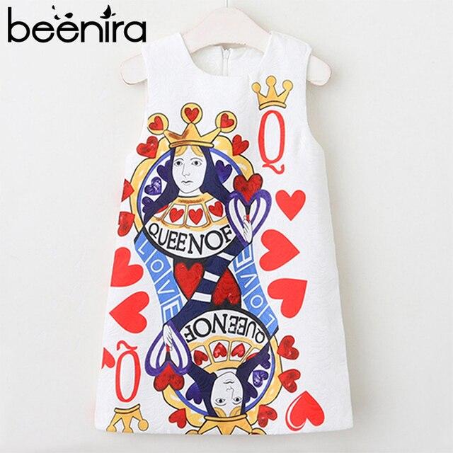 Beenira Girls Summer Dress 2018 European American Style Dress Children Playing Card...