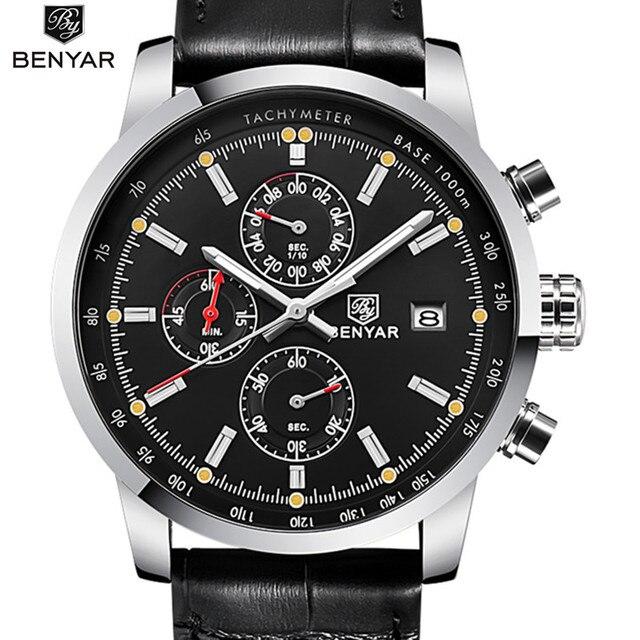 8ca5761cf36 BENYAR Esporte Mens Relógios Top Marca de Luxo Cronógrafo de Quartzo  Relógio relogio masculino Homens Relógio
