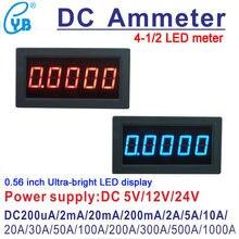 Amperímetro digital led, medidor de corrente dc, medidor de painel amperímetro 4 1/2, ampere 100ua 200ua 2ma 200ma 2a 5a 10a 30a 50a 100a 300a 500a