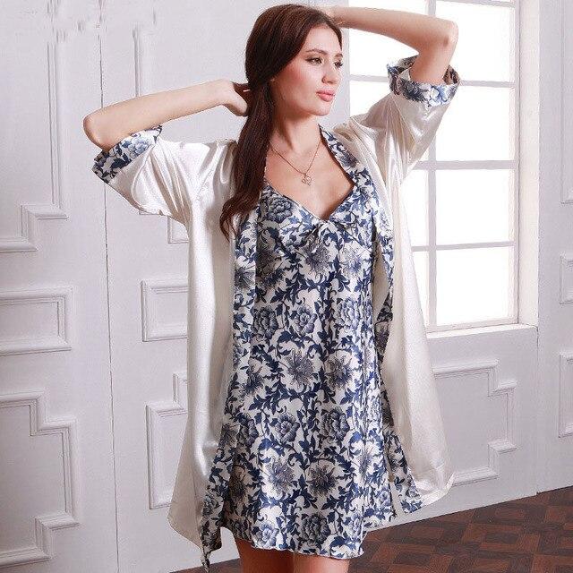 e38c27febc Women Robe Nightgown Sets Silk Luxury Floral Satin Pajamas Set Night Dress  For Women Sleepwear Homewear