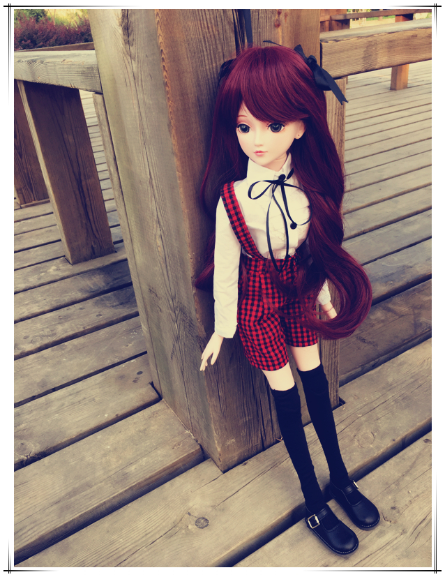 pre-sale Private custom 1/3 joint doll cosplay include withe shirt red dress red or brown wigs random color shoes for bjd gift