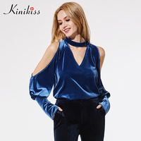2017 Autumn Puff Sleeve Blue Blouse Women Sexy V Neck Woman Halter Shirt Elegant Vintage Top