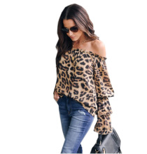 Women Blouses Leopard Print Casual Shirt Ladies Long Sleeve Blouse Off Shoulder Top
