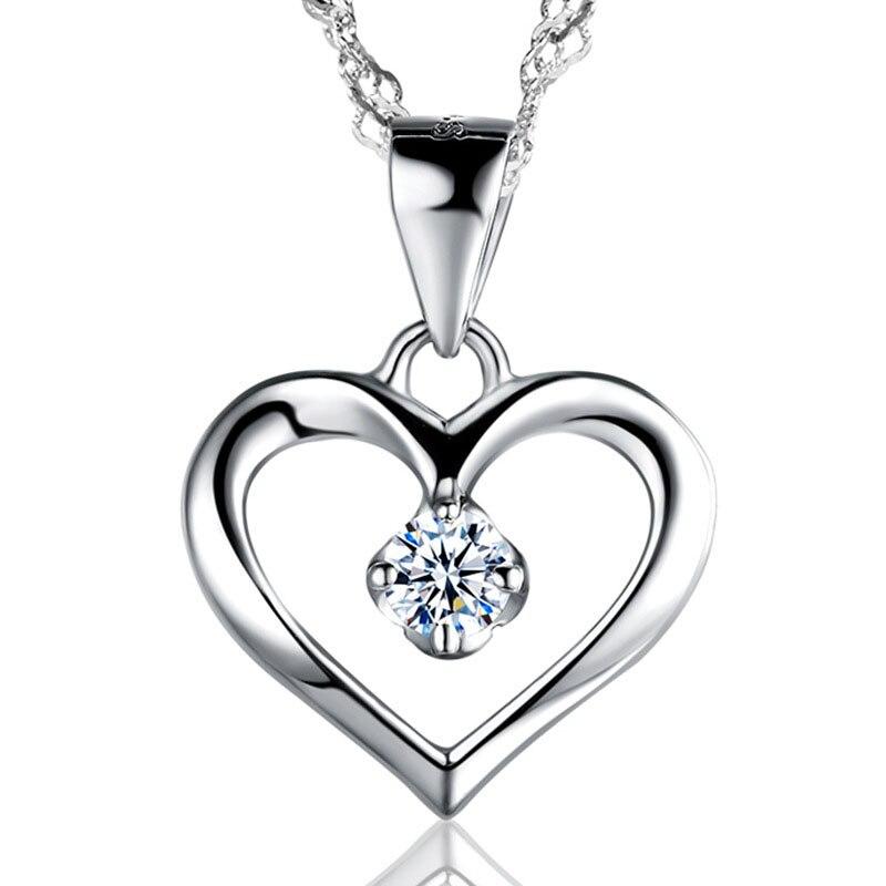 1dfeb0ae6511 Moda elegante Simple Cubic Zirconia Hollow 925 Collar de plata del corazón  para las mujeres mejor regalo