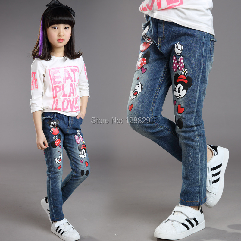 c821c7c7af0 Jeans For Girls High Quality Denim Pants For Girls Cartoon Cute Baby ...