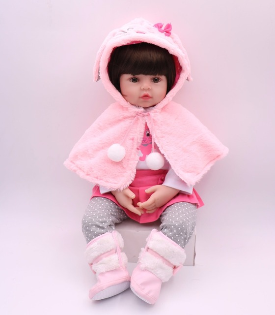"""24""""/61 cm Handmade Cotton Body Silicone Reborn Baby girl Doll Beautiful cloth Toddler Princess Baby Doll Toys look real for Kids"""