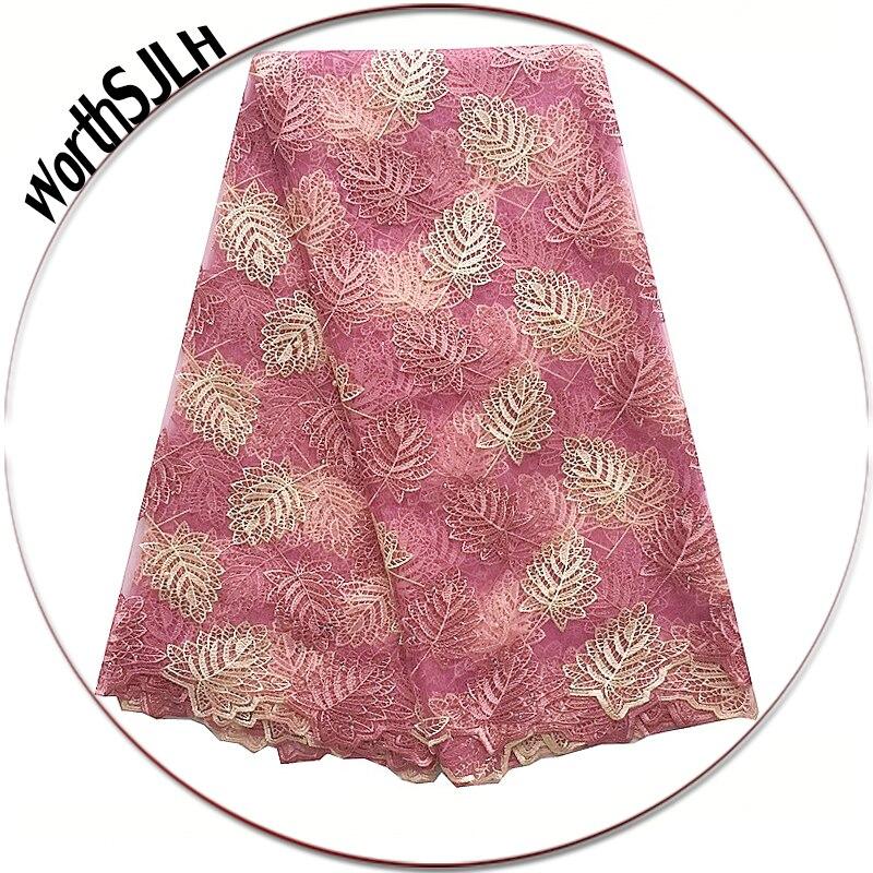 Rózsaszín Legújabb afrikai ruhák 2018 Net francia csipke szövet - Művészet, kézművesség és varrás