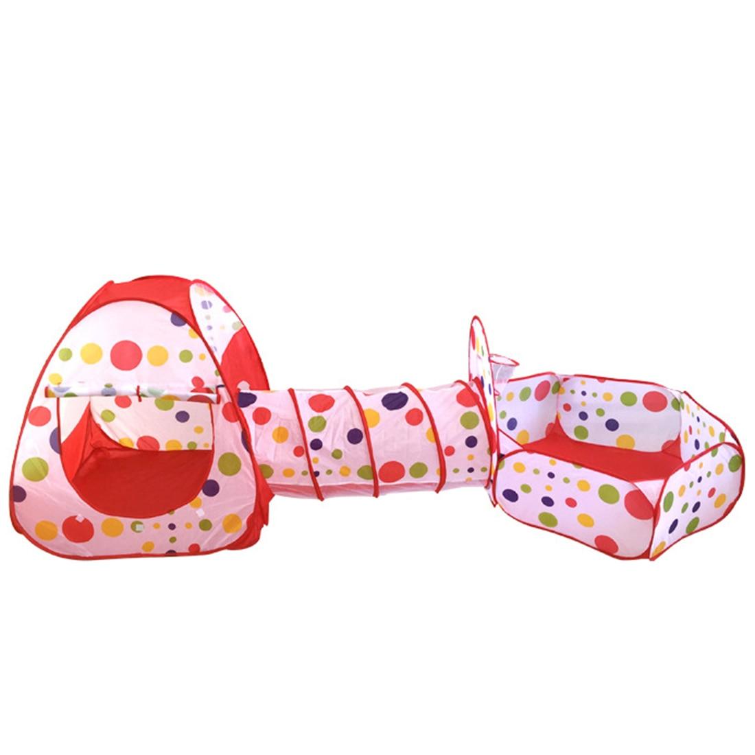 3 pièces Portable mignon hexagone coloré à pois enfants parc à bille fosse facile pliage jouer tente maison avec fourre-tout sac chaud