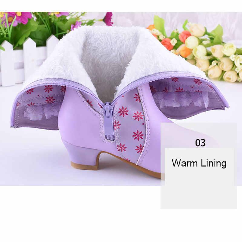 Çocuklar Düşük topuklu Moda Botları Prenses Orta buzağı Çizmeler Boncuk Çiçek Düğün Parti Butik Çizmeler PU Deri Pembe mor Ayakkabı