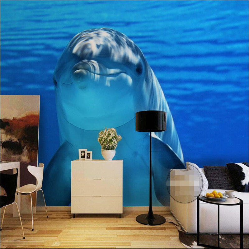 Large Mural Custom Size Background Photography HD Seawater Dolphin Bathroom  Wall Wallpaper For Living Room Decor Painting
