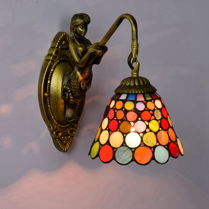 European retro Tiffany coloured glass living room, bedroom bar club aisle balcony colorful wall lamp european retro peacock resin wall aisle living room bedroom decoration lamp size 40 49cm ac110 240v