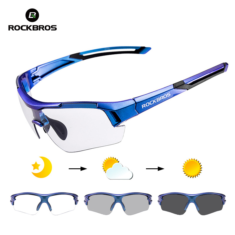 RockBros Cycling Photochromatic Glasses Sporting Sunglasses Goggles Blue