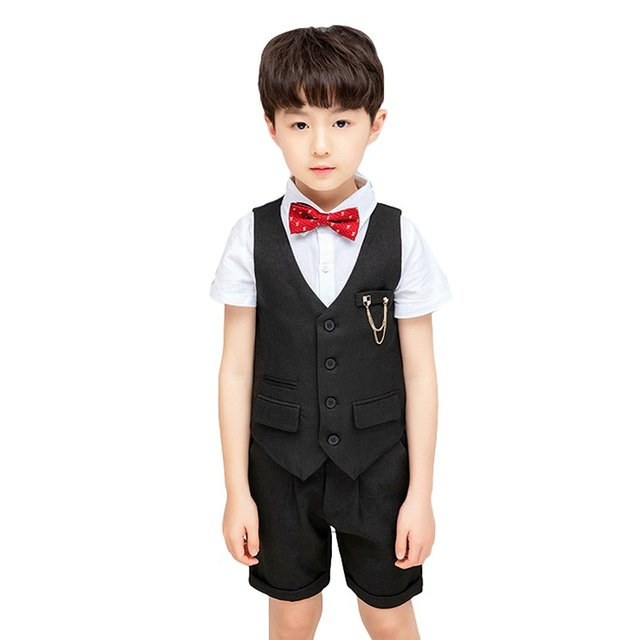 Angcoco Little Boys Gentleman Dress Shirt+Waistcoat+Trousers 3-Piece Outfits Suits