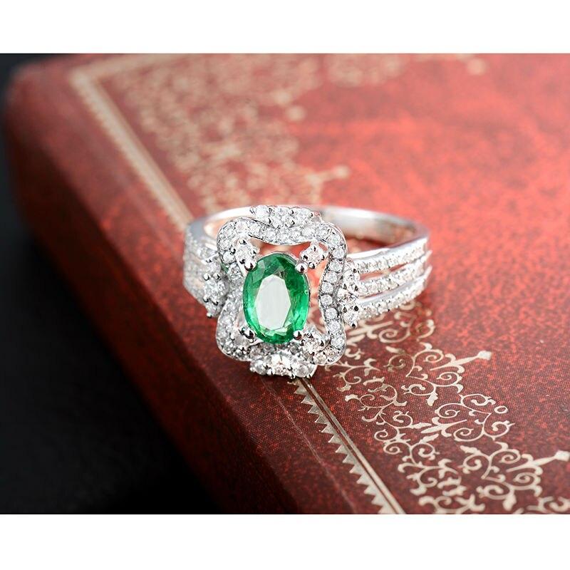 Yeni Dizayn Oval 5x7mm Təbii Zümrüd Diamond Ring 18K Ağ Qızıl - Gözəl zərgərlik - Fotoqrafiya 3