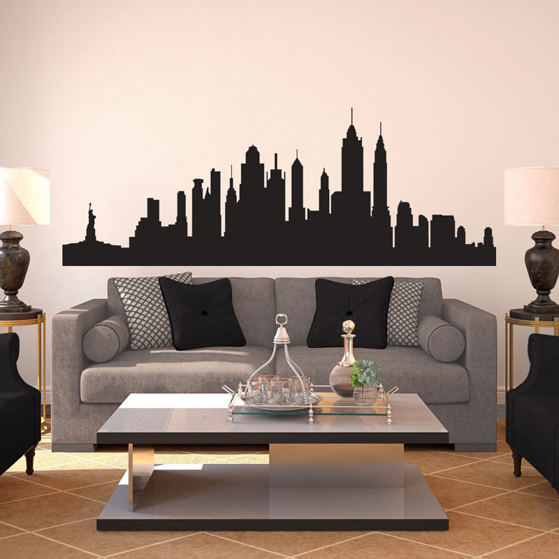 New York City Skyline Silhouette Pattern Wall Decal Custom ...