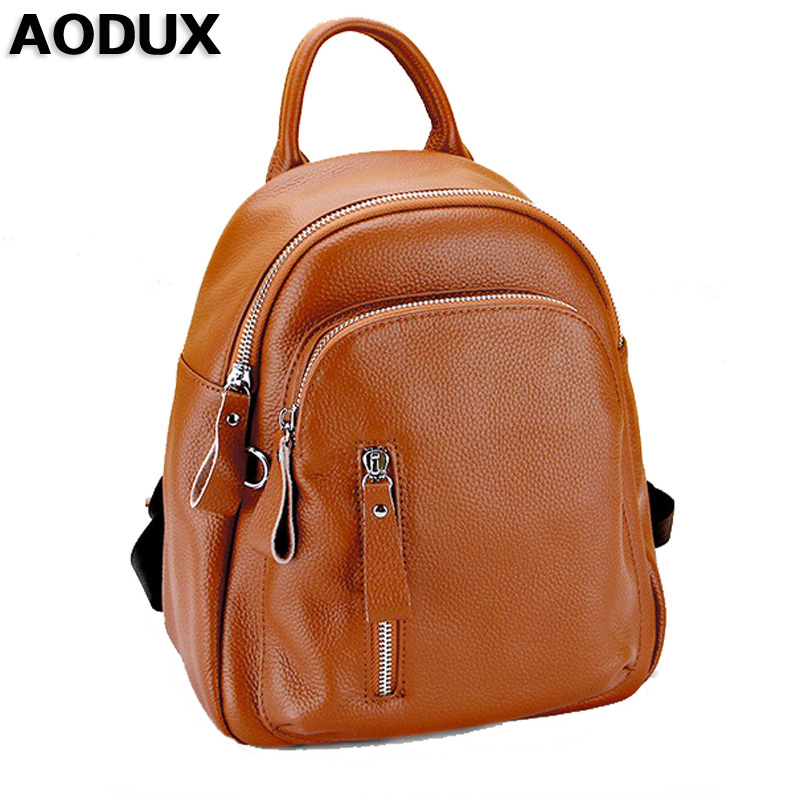купить AODUX Famous Brand Small Genuine Leather Women Backpack Cowhide Women Real Leather Backpacks Bags Girls по цене 3053.09 рублей