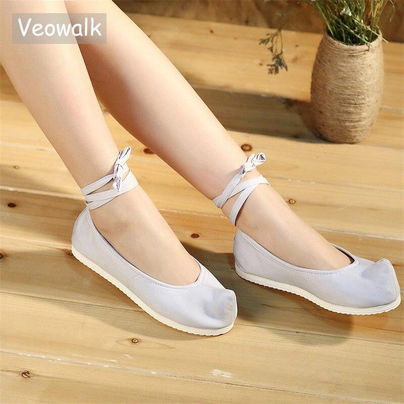 Femmes Chaussures Vintage Nez Appartements Costume forme Ballet Dentelle Dames Veowalk Coton En Bracelet Toile Plaine Cheville Bout Vierge Plate blanc Casual Gris HA0n7Eq