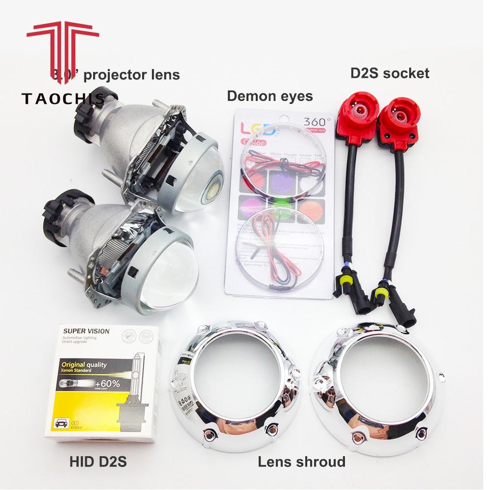 TAOCHIS HID Xénon Hella Projecteur Lentille D2S D1S D3S D4S Linceul Diable Yeux Modifier lampe frontale Lampe Mise À Niveau Rapide Lumineux
