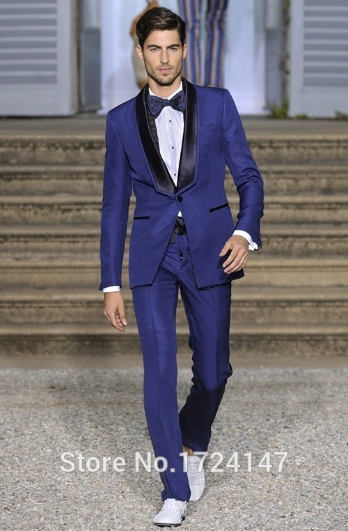Online Shop Royal Blue Slim Fit Groomsmen Tuxedos Best Man Wedding ...