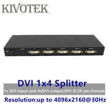 4 Ports DVI Splitter,Dual link DVI D 1X4 Splitter Adapter Distributor,Female Connector 4096x2160 5VPower For CCTV Monitor Camera
