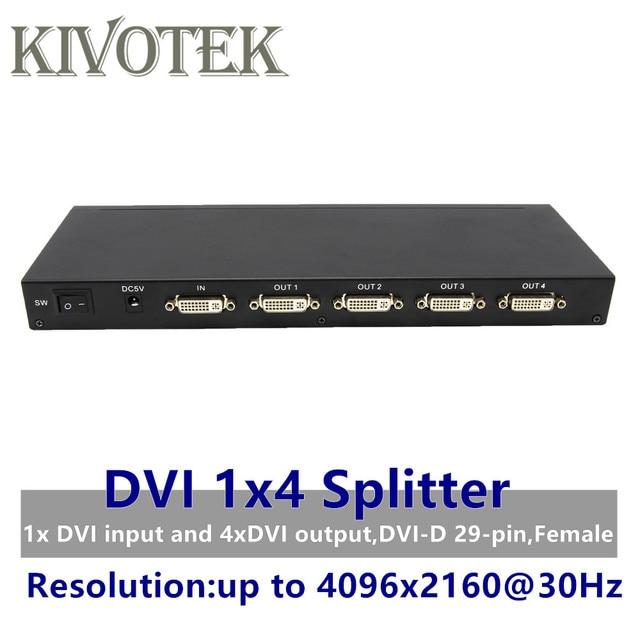 4 Ports DVI Splitter,Dual link DVI D 1X4 Splitter Adapter Distributor,Female Connector 4096x2160 5VPower For CCTV Monitor Camera