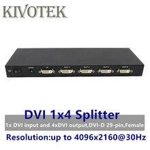 4 porty DVI Splitter, Dual link DVI D 1X4 przejściówka rozgałęziająca dystrybutora, złącze żeńskie 4096x2160 5VPower dla CCTV kamera monitorująca