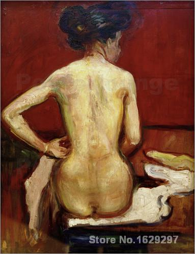 Painting by Edvard Munch art ack View of Sitting <font><b>Female</b></font> <font><b>Nude</b></font> with Red Background High Quality Hand painted