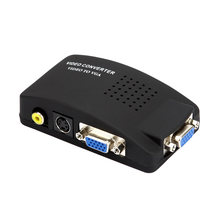 5V DC power Video AV S-Video RCA to VGA TV Converter TV to PC to VGA Adapter Box for Computer