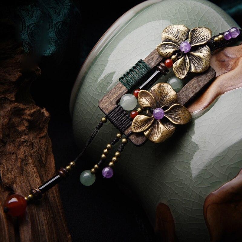 Bronze blumen Mode holzplatz vintage halskette Aventurin vintage-schmuck, Neue ethnische halskette kristall pullover halskette