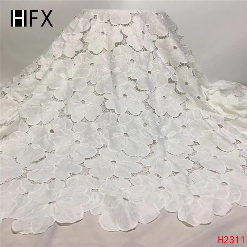 HFX 2019 أحدث الأفريقية جبر الدانتيل المياه البيضاء للذوبان نسيج دانتيل كيميائي ، عالية الجودة دانتيل بارزة إفريقية شحن مجاني H2311-في دانتيل من المنزل والحديقة على  مجموعة 1