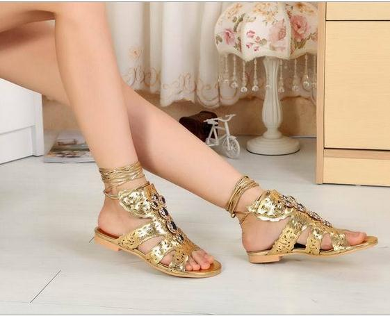 fac86bf58eab80 2015 Summer Fashion Gold Flat Heel Sandals Female Beaded Lace Up Ankle  Strap Golden Bling Bling Brand Party Casual Woman Sandals-in Women s Sandals  from ...
