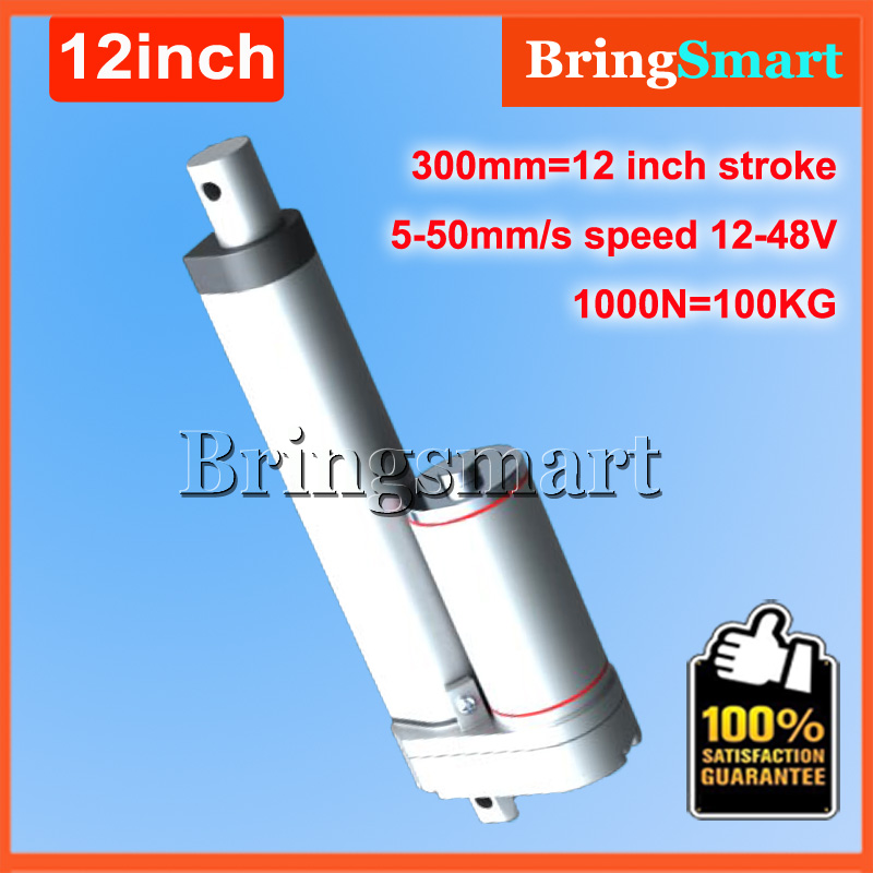 12Inch 300mm Stroke 12V DC Electric Linear Actuator 12-48V DC 4-50mm/s 100KG Load 1000N Heavy Duty Tubular Electric Motor 24V 10inch 250mm stroke 12v dc electric linear actuator 4 27mm s 150kg load 12 36v dc 1500n heavy duty tubular electric motor 24v