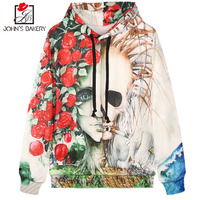John S Bakery Brand 3D Digital Print Hoodies Men Women Sweatshirt Hooded Clothing Hoody Autumn Winter