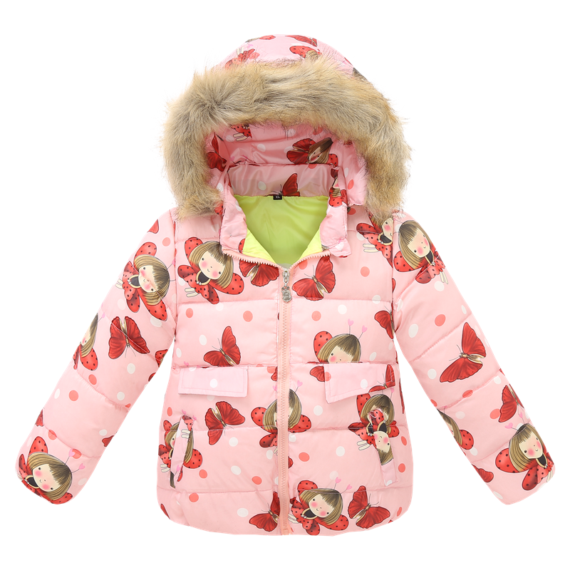 ФОТО Children Clothing Winter Down Jacket Girls Warm Outerwear Coats 2-6 Years Kids Floral Print 90% White Duck Down Parkas 90-120cm