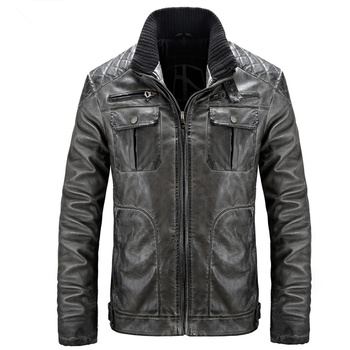 2018 Autumn European and American Code Men's Motorcycle Leather Jackets Stand Collar Zipper Closure Long Sleeve PU Jacket Men