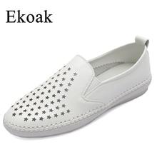 Ekoak/натуральная кожа Размеры 35–43 Новый 2017 классический женская повседневная обувь лето-осень Женские туфли-лодочки Мода для девочек полые обувь женщина