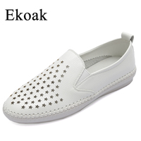 Ekoak Genuine Leather Size 34 43 New 2017 Classic Women Casual Shoes Summer Autumn Women Flats