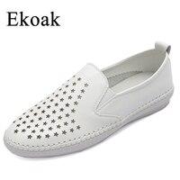 Ekoak Genuine Leather Size 34 43 New 2017 Classic Women Casual Shoes Summer Autumn Women Flats