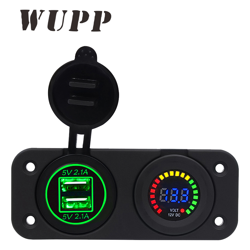 WUPP Auto Car-Styling Boat Power Outlet Mini Dual Usb Car Charger 12V Voltmeter Green Color Display For Xiaomi/ Meizu/ Huawei xiaomi car charger