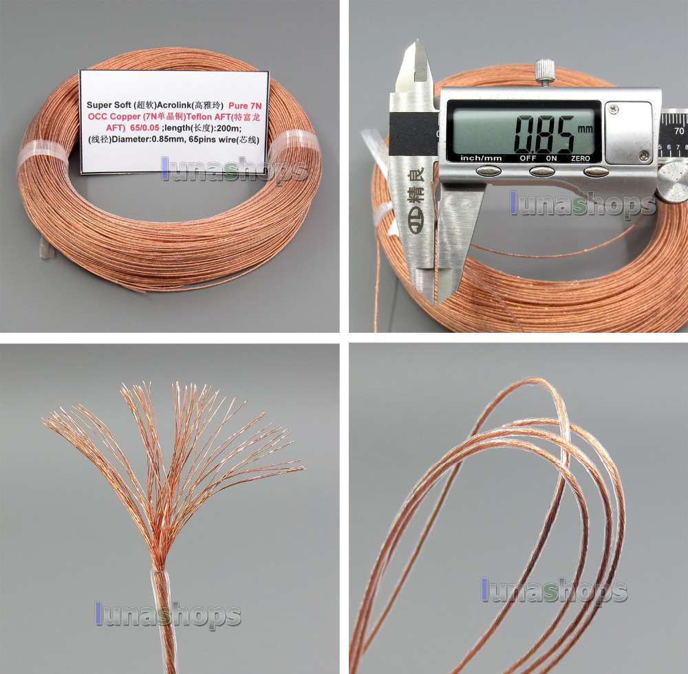 5m 26AWG Ag99.9% Acrolink Pure 7N OCC Kobbersignal Teflo AFT Wire Cable 65 / 0.05mm2 Dia: 0.85mm For DIY LN005193