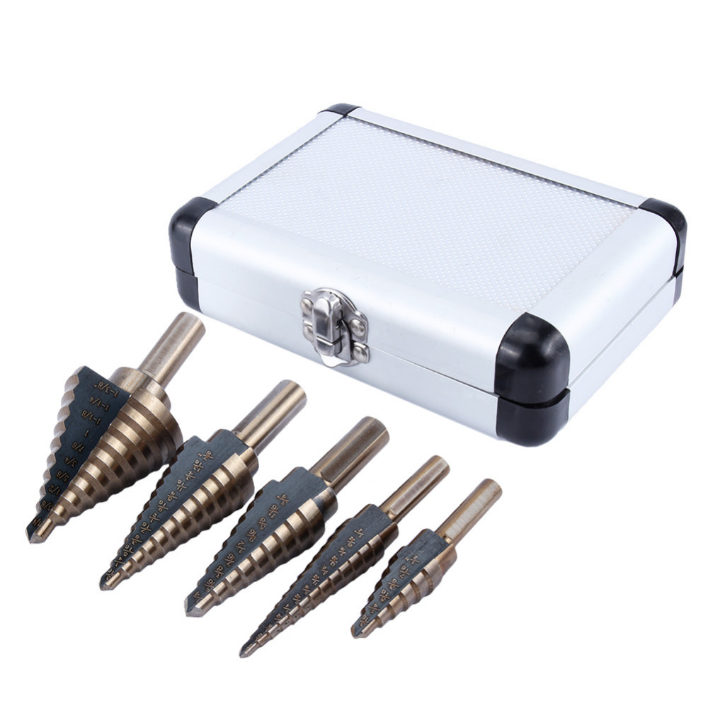 5Pcs HSS Cobalt Step Drills Multiple Hole Drilling Bit Set W/ Aluminum Case Titanium Cone Drill Hole Cutter Core Drill Bits