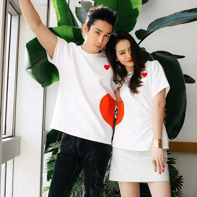 2018 Family Set Heart Matching Outfits Cotton T shirts Famil