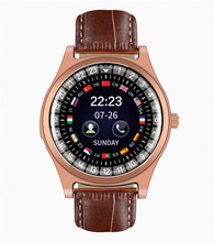 New Leather Smart Watchs Round Fitness Sport Wristwatch Support SIM &TF Card With HD Camera Luxury Smartwatch For Android iPhone