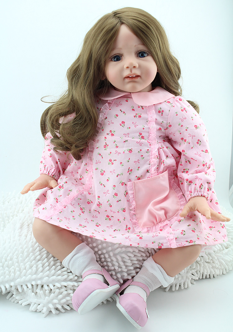 60cm Handmade Silicone Reborn Princess Doll Gorls Toy <font><b>24inch</b></font> Lifelike Soft Silicone Reborn Baby Dolls Toddler Fridolin For Girls image